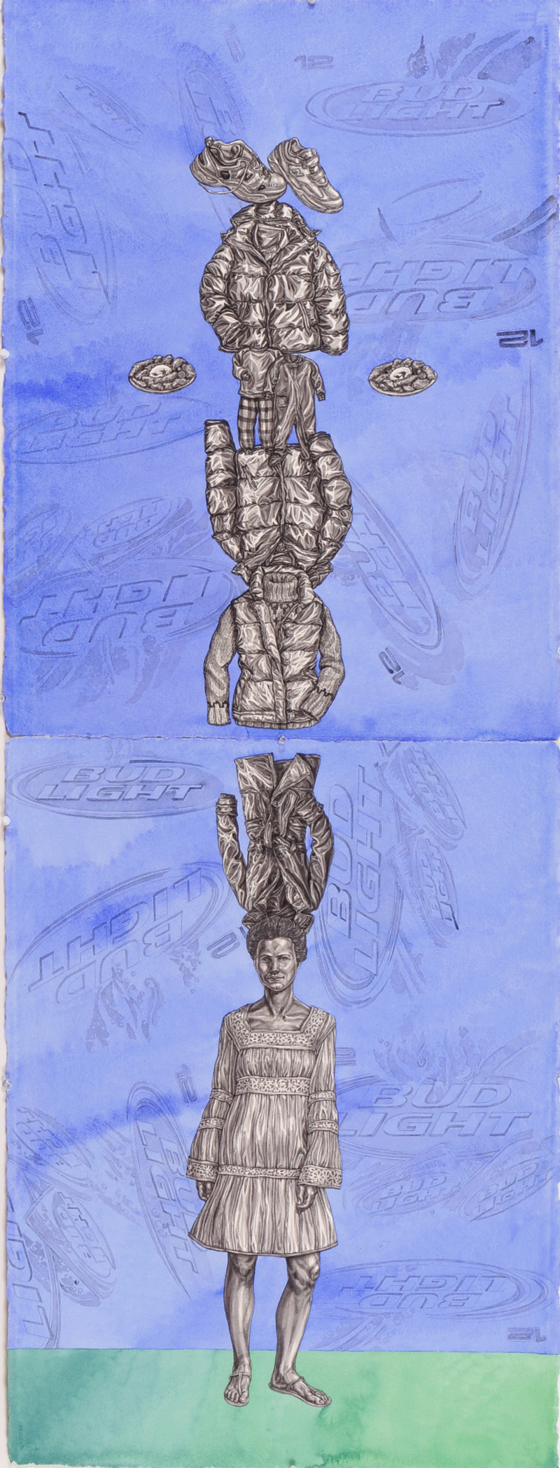 """Bud Light"" 2010, 60 x 20 in, watercolor and pencil on paper courtesy of P.P.O.W. Gallery, New York, NY"