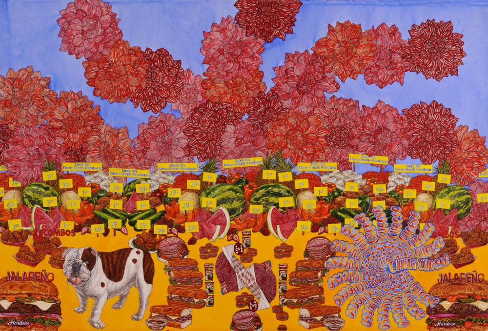 """Farm-Fresh Produce, Odgen"" 2010, 60 x 40 in., watercolor on paper courtesy of P.P.O.W. Gallery, New York, NY"