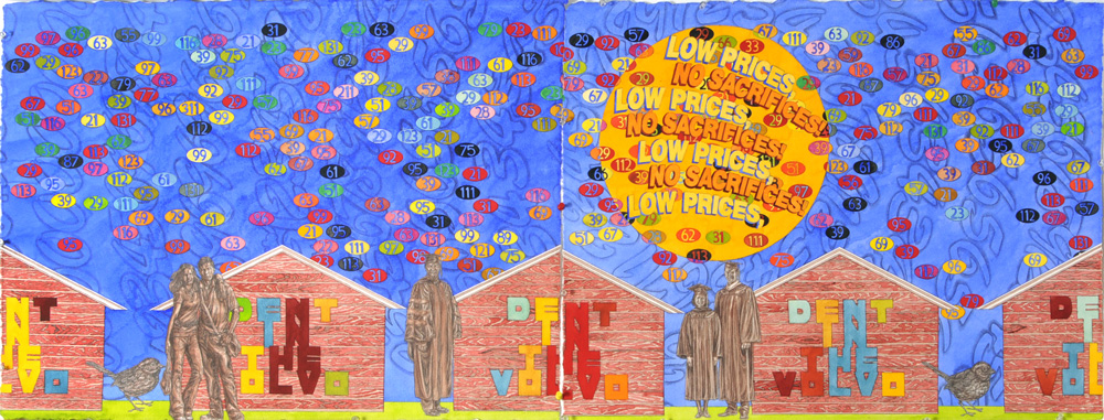 """Low Prices, No Sacrifices"" 2010, 60 x 22 in., watercolor with pencil on paper courtesy of P.P.O.W. Gallery, New York, NY"