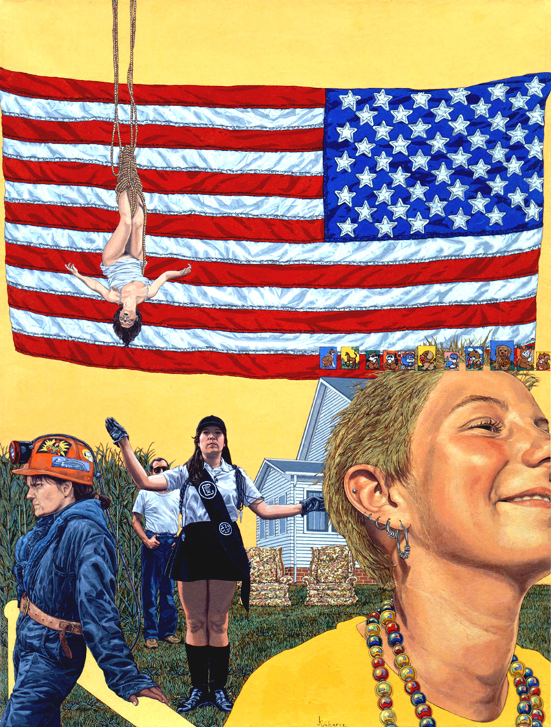 """Backwards Flags"" 1998, 26 x 20 in, oil on linen Private collection"