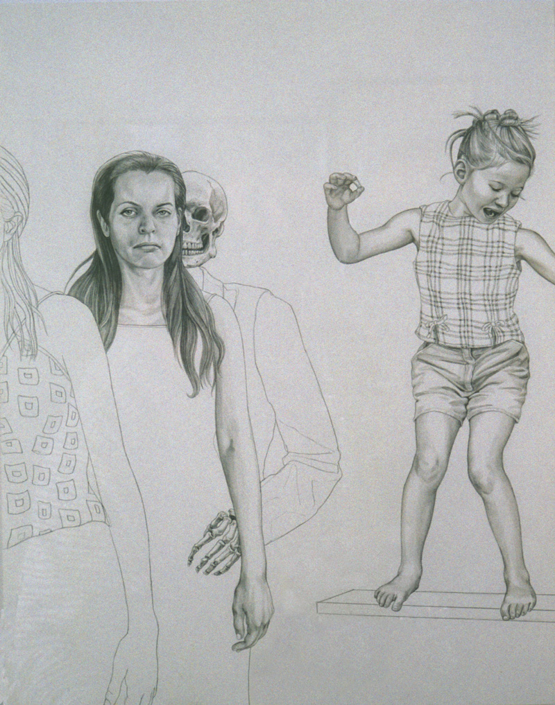 """""""On Human Finery"""" 1999, (from drawings on one large panel) Total size: 6 x 1' ft , silverpoint on panel"""