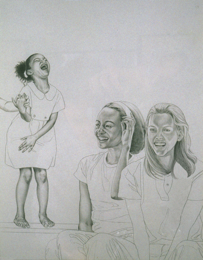 """On Human Finery""  1999, (from drawings on one large panel) Total size: 6 x 1' ft , silverpoint on panel"