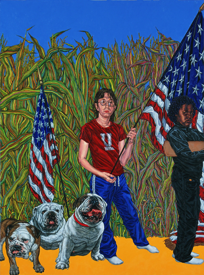 """Girl's Army - the bitches""  2003, 60 x 40 in, oil on linen courtesy of P.P.O.W. Gallery, New York, NY"