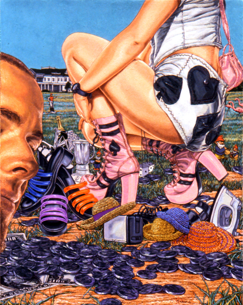 """Heads or Tails"" 1998, 14 x 11 in, oil on linen courtesy of P.P.O.W. Gallery, New York, NY"