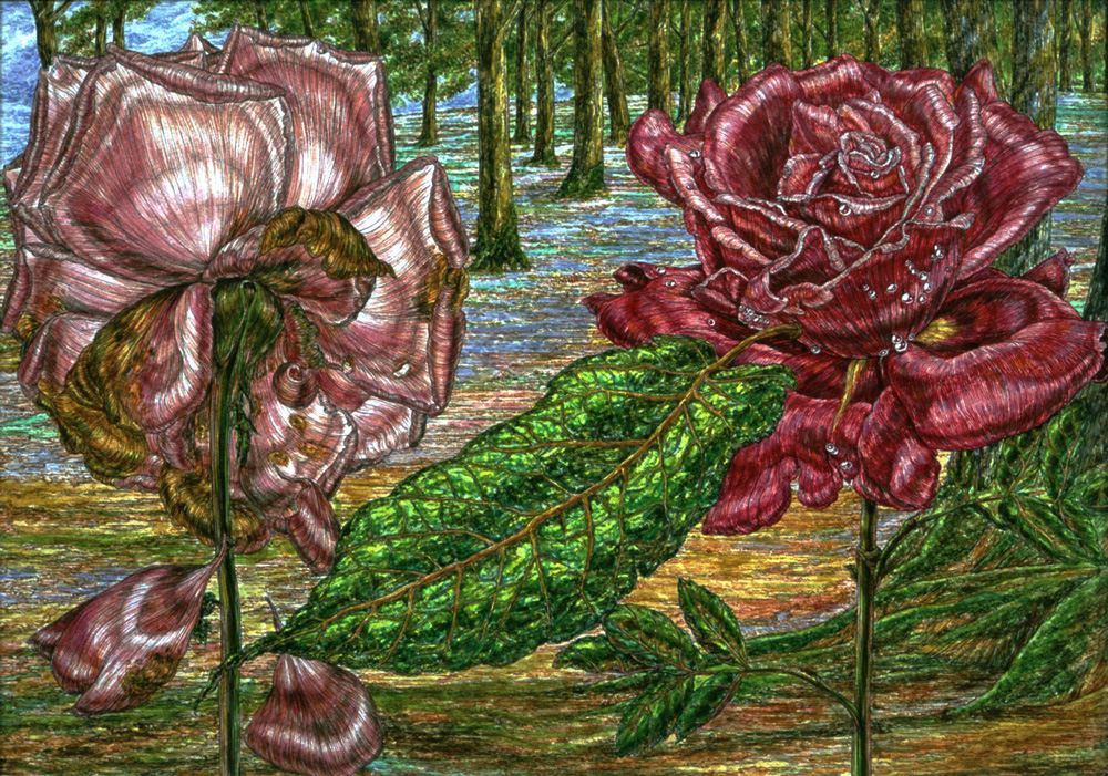 """From the book """"One Leaf Fell"""" 1991, 14 x 18 in , watercolor nom de plume Minerva McIntyre, published by Stewart, Tabori & Chang"""