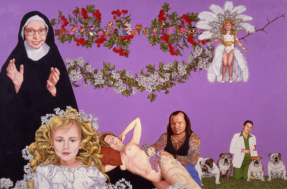 """Show Quality Bitches"" 1997, 26 x 38 in , oil on linen collection Suzy and Joe Berland, New York, NY"